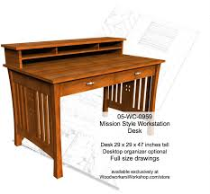 05 wc 0959 mission style workstation desk woodworking plan
