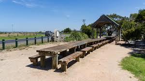 long picnic table at tarwin lower vic pics