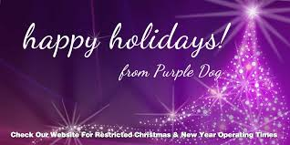 happy holidays restricted operating hours purple design