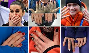 men with red fingernails and curlers in hair winter olympics athletes show off their nail art daily mail online