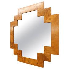 Art Deco Style Art Deco Style Geometric Italian Burl Wood Wall Mirror At 1stdibs