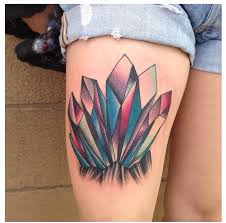 crystal tattoo on upper thigh tattoomagz