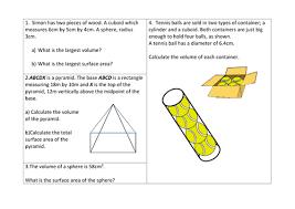 maths area u0026 volume of pyramids cones worksheet by sbinning