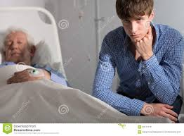 grandfather s sad grandson at grandfather s bed stock image image of sadness