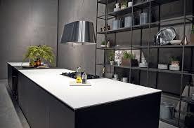 kitchen design in black and white using ceramic worktops