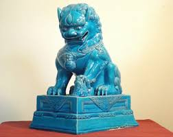 turquoise foo dogs for sale foo dog etsy