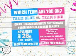 gender reveal baby shower gender reveal baby shower invitations team blue vs team pink
