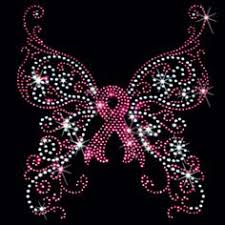 butterfly cancer ribbon rhinestone transfer pink ribbon
