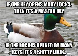 Master Key Meme - if one key opens many locks then it s a master key if one lock is