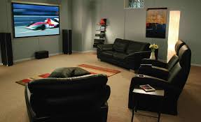 home theater bar ideas l shape brown leather sofa movie theatre basement ideas black