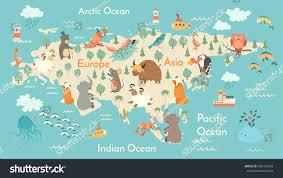 Maps For Kids Animals World Map Eurasia Eurasia Map Stock Vector 338164283
