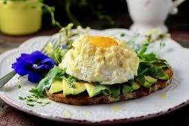 cloud egg avocado toast with wild arugula taste with the eyes