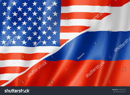 mixed usa russia flag three dimensional stock illustration