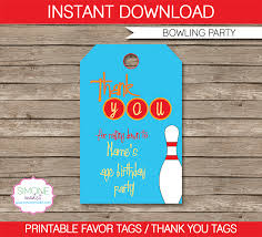 Diy Bowling Favors by Bowling Favor Tags Thank You Tags Birthday