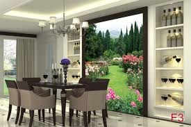 Dining Room Murals Garden View With Beautiful Roses