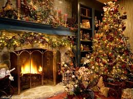 marvelous christmas livingroom decorated fireplace in a family