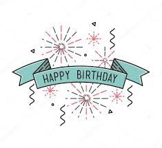 happy birthday simple design happy birthday flat design thin line banner stock vector