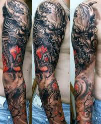 100 dragon sleeve tattoo designs for men fire breathing ink ideas