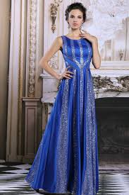full length high neck royal blue and silver prom dress 2016 two