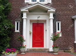 red front door with portico chicago 2008 stock photo picture