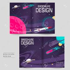 cartoon bi fold brochure template design with outer space scenery
