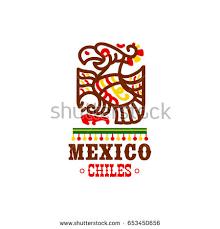 aztec bird ornament icon mexican cuisine stock vector 653450656