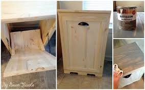 Kitchen Cabinet Trash Can How To Make Wood Tilt Out Diy Trash Can Cabinet Beesdiy Com