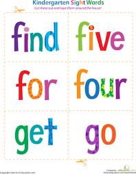 kindergarten sight words find to go worksheet education com
