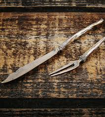 Antique Kitchen Knives Bronze Bone Cheese Knife U0026 Fork Set Home Dining U0026 Tableware