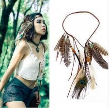 hippie hair accessories boho weave bird feather tassel festival headbands american