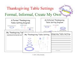 Informal Table Setting by Thanksgiving Table Setting Art And Or Writing Activity In Pdf