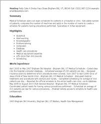 Health Care Resume Sample by Professional Medical Scheduler Templates To Showcase Your Talent