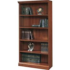 sauder premier 5 shelf composite wood bookcase planked cherry