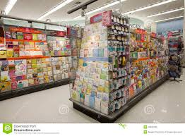 shop with greeting cards shelves postcards editorial photo