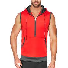 elite sleeveless hoodie red men u0027s sleeveless hoodies zip up