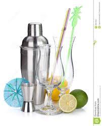 cocktail shaker vector cocktail shaker glasses utensils and citruses stock photo