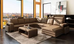 grand canap d angle en u grand salon achat vente canapé en cuir ravenne u lecoindesign