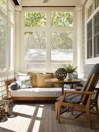 bedrooms sunroom design with rustic cozy daybed decor near round