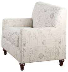 Fabric Armchair Oatmeal Linen Fabric Norah Accent Arm Chair With French Script