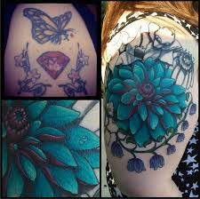 botanical cover up by chris sparks gully cat tattoo austin texas
