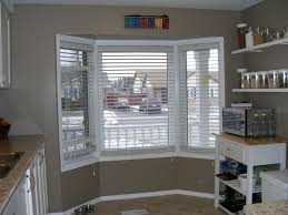 cool grey painting wall kitchen bay window blinds as inspiring