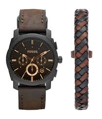 bracelet leather watches images Fossil men 39 s leather watch and bracelet box set dillards jpg