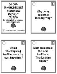 vocabulary 30 esl ell thanksgiving speaking prompt cards
