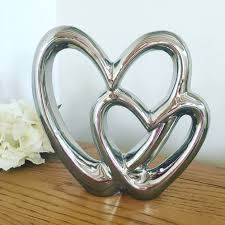 Decorative Hearts For The Home Silver Double Heart Ornament Sjeliteinteriors