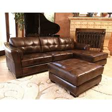 Top Grain Leather Living Room Set by Rosemary Top Grain Leather Chaise Sectional And Ottoman New
