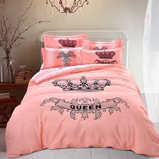 Pink Bedding Sets Pink Crown Bedding Sets Queen King Size Brushed Cotton Fabric Warm