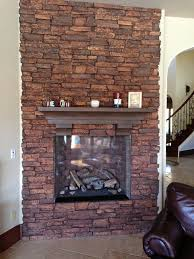 decorations comfortable living room with stone veneer fireplace