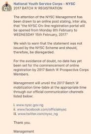 batch a 2017 online registration date nysc releases statement