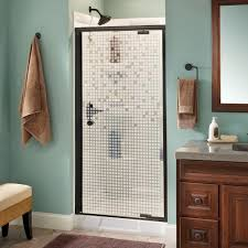 pivot glass door delta mandara 36 in x 66 in semi frameless pivot shower door in