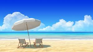 chair and umbrella on tropical sand concept for